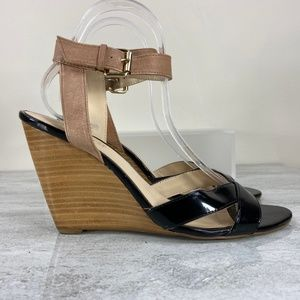Nine West Black and Nude Wedges